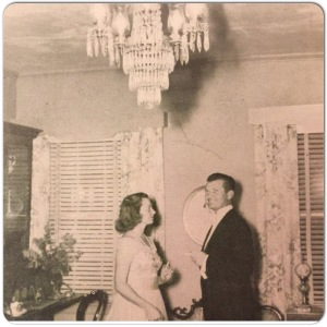 Durward King and Adele King under a King's Chandelier